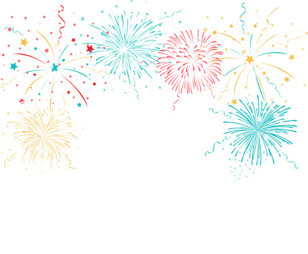 Illustration pour Colorful fireworks background - image libre de droit