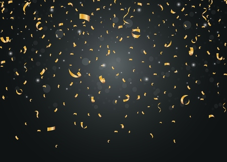 Illustration for Golden confetti isolated on black background - Royalty Free Image