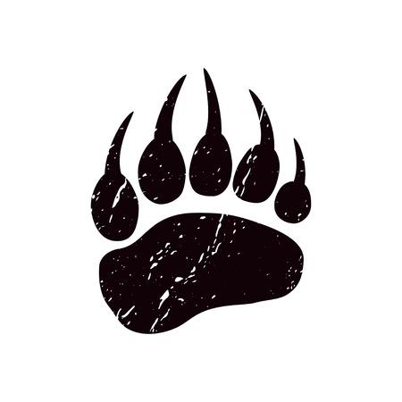 Ilustración de A trace a bear. Black silhouette of paw on a white background. Vector. The imprint of a bear s foot. Logo of the footprint. - Imagen libre de derechos