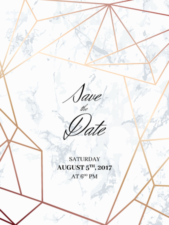 Ilustración de Save the date design template. Invitation to a holiday party. White marble background and rose gold geometric pattern. Dimensions 4,625x6,25 inch, 0.125 bleed size. Seamless pattern included. Eps10. - Imagen libre de derechos