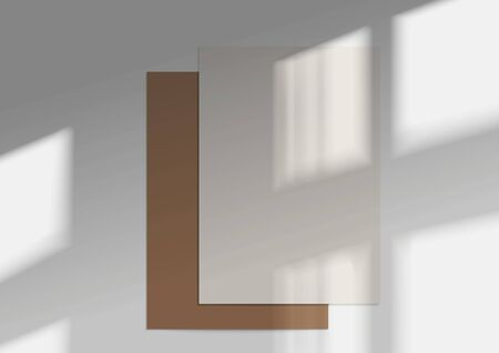 Illustration pour Two A4 Paper. Mockup of Overlay shadow from the window. Natural light shadow over the top. Photo-realistic vector illustration. - image libre de droit