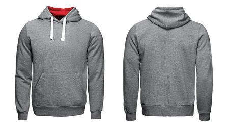 Foto de gray hoodie, sweatshirt mockup, on white background - Imagen libre de derechos