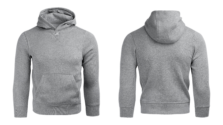 Photo pour gray hoodie, sweatshirt mockup, on white background - image libre de droit