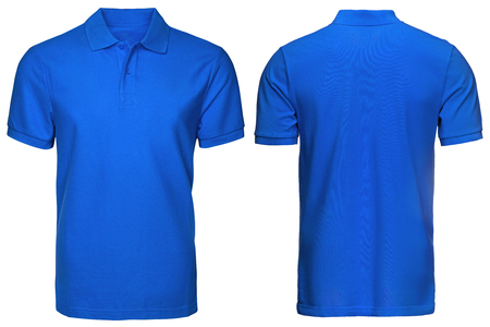 Foto de blank blue polo shirt, front and back view, isolated white background. Design polo shirt, template and mockup for print. - Imagen libre de derechos