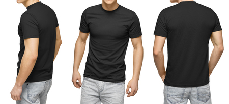 Foto de Young male in blank black t-shirt, front and back view, isolated white background with clipping path. Design men tshirt template and mockup for print. - Imagen libre de derechos