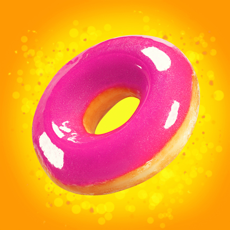 Photo for Design mockup donut closeup with pink glossy glaze. Sweet food concept. Promo flyer with donuts on orange background with splash yellow bokeh. Doughnut pastry dessert template for bakery. - Royalty Free Image