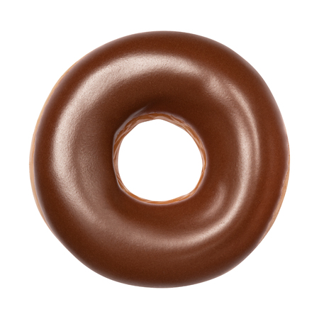 Photo for Tasty Donut dessert with chocolate glossy glaze, top view isolated on white background. Sweet food concept with one round chocolate doughnut cake for your design and print. Front View. - Royalty Free Image