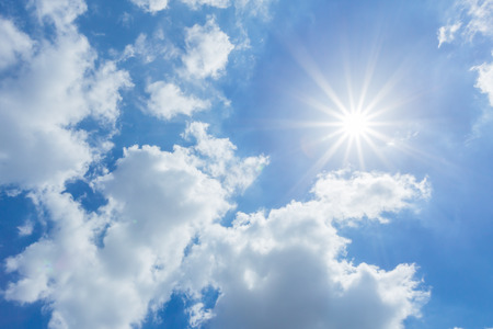 Foto de The sun shines bright in the daytime in summer. Blue sky and clouds. - Imagen libre de derechos