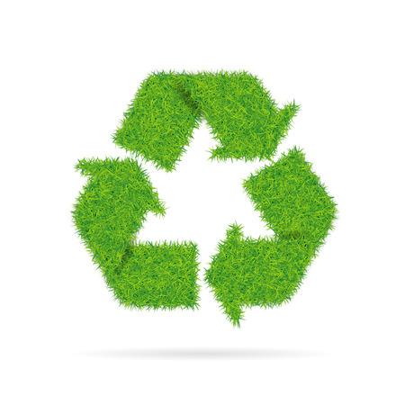 Ilustración de Sign recycling with grass texture isolated on white background. - Imagen libre de derechos