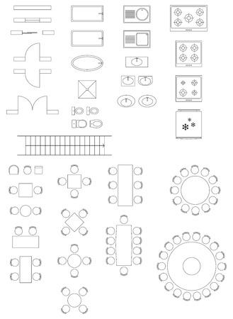 Illustration pour Standard Symbols Used In Architecture Plans Icons Set - image libre de droit