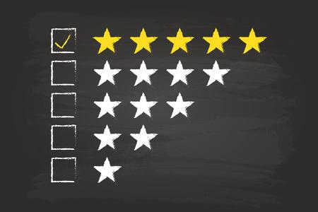 Illustration pour Five Star Checklist Rating On Blackboard - image libre de droit