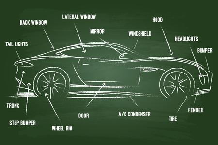 Illustration pour Car Parts Sketch On Green Board - image libre de droit