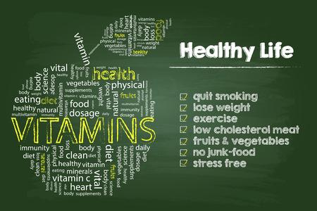 Ilustración de Healthy Life Steps Graphic With Vitamins Word Cloud Apple On Green Board - Imagen libre de derechos