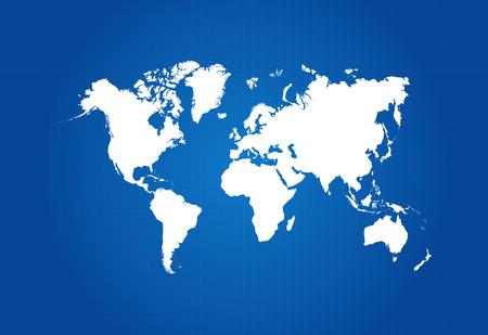 Illustration pour Map Of The World On Blueprint Vector - image libre de droit