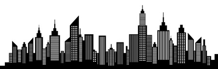 Illustration pour Modern City Skyscrapers Skyline Silhouette - image libre de droit