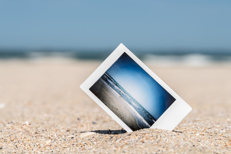 Photo for Instant Photo With Vacation Memories On Ocean Beach - Royalty Free Image