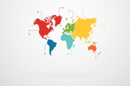 Illustration pour World Map Continents Infographic Vector - image libre de droit