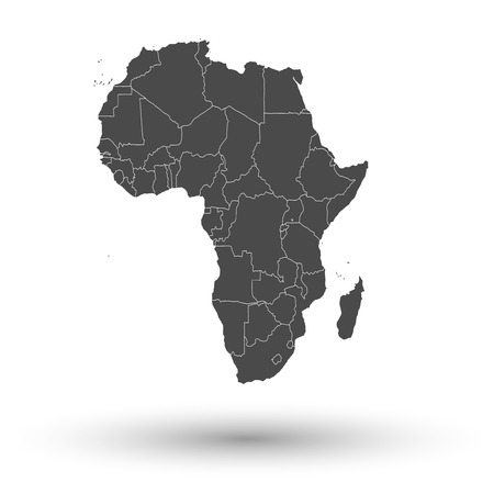 Illustration for Africa map with shadow background vector illustration - Royalty Free Image