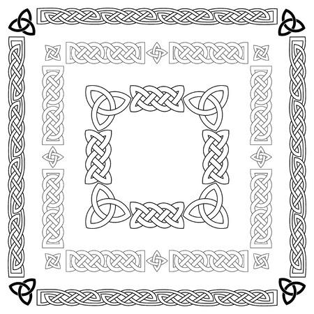 Ilustración de Set of Celtic knots, patterns, frameworks. Vector illustration. - Imagen libre de derechos