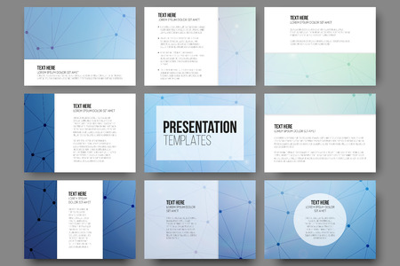 Illustration pour Set of 9 vector templates for presentation slides. Blue vector background with molecule structure - image libre de droit