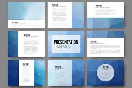 Ilustración de Set of 9 vector templates for presentation slides. Abstract triangle design vector background. - Imagen libre de derechos