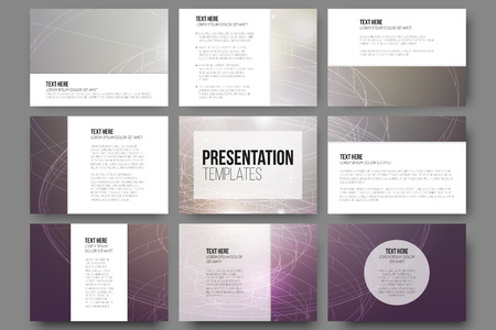 Ilustración de Set of 9 vector templates for presentation slides. Conceptual abstract scientific vector background, minimalistic design - Imagen libre de derechos
