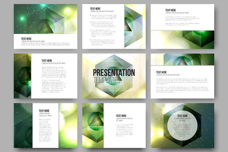 Ilustración de Set of 9 vector templates for presentation slides. Colorful graphic design, abstract vector background. - Imagen libre de derechos