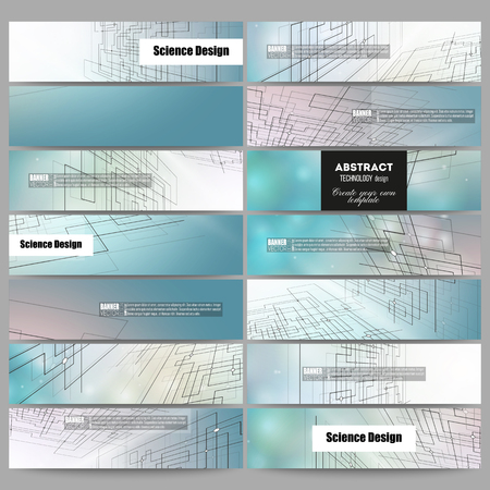 Illustration for Set of modern vector banners. Abstract vector background of digital technologies, cyber space. - Royalty Free Image