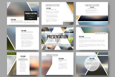Illustration pour Set of 9 vector templates for presentation slides. Abstract multicolored background of blurred nature landscapes, geometric vector, triangular style illustration. - image libre de droit