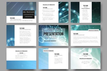 Illustration pour Set of 9 vector templates for presentation slides. DNA molecule structure on a blue background. Science vector background. - image libre de droit
