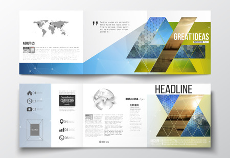 Ilustración de Vector set of tri-fold brochures, square design templates with element of world map and globe. Abstract colorful polygonal background with blurred image on it, modern stylish triangular and hexagonal vector texture. - Imagen libre de derechos