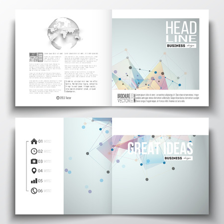 Ilustración de Set of annual report business templates for brochure, magazine, flyer or booklet. Molecular construction with connected lines and dots, scientific pattern on abstract colorful polygonal background - Imagen libre de derechos