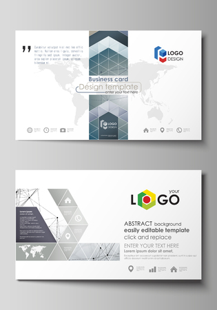 Illustration pour Business card templates. Easy editable layout, abstract vector design template. DNA and neurons molecule structure. Medicine, science, technology concept. Scalable graphic. - image libre de droit