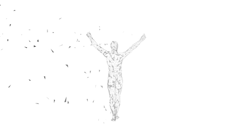 Illustration pour Conceptual abstract man with hands pointing up. Connected lines, dots, triangles, particles. - image libre de droit