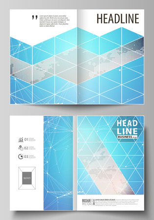 Illustration pour The vector illustration of the editable layout of two A4 format modern cover mockups design templates for brochure, magazine, flyer. Molecule structure. Science, technology concept. Polygonal design - image libre de droit