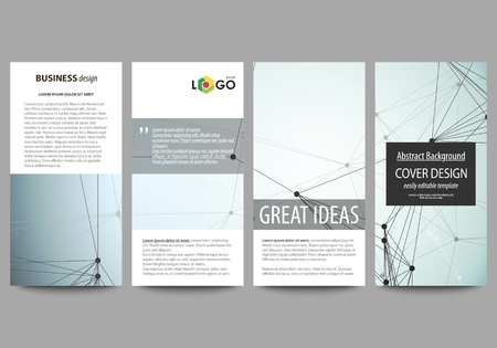 Foto de Flyers set, modern banners. Business templates. Cover design template, abstract vector layouts. Chemistry pattern, connecting lines and dots, molecule structure, scientific medical DNA research. - Imagen libre de derechos