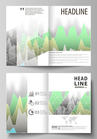 Ilustración de The vector illustration of the editable layout of two A4 format modern cover mockups design templates for brochure, flyer, booklet. Rows of colored diagram with peaks of different height. - Imagen libre de derechos
