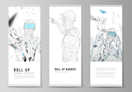 Foto de The vector illustration of the editable layout of roll up banner stands, vertical flyers, flags design business templates. Man with glasses of virtual reality. Abstract vr, future technology concept. - Imagen libre de derechos