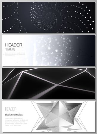 Ilustración de The minimalistic vector illustration of the editable layout of headers, banner design templates. 3d polygonal geometric modern design abstract background. Science or technology vector illustration. - Imagen libre de derechos