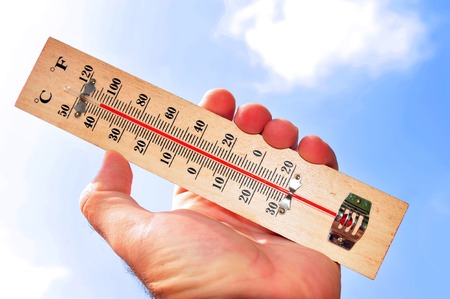 Photo for A hand and temperature scale shows 41 degrees celsius during a heat wave - Royalty Free Image