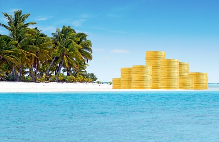 Photo pour Offshore banking and  tax havens concept with golden coins on sand island and palm trees. Copy space - image libre de droit