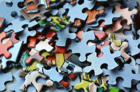 Photo pour Mix of colorful puzzle  piece. Concept of non-order and chaos - image libre de droit