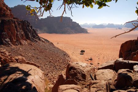 The wonderful landscape view of Wadi Rum.