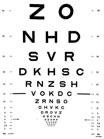 Foto de Snellen eye chart that can be used to measure visual acuity. Optometry background and eyes health care concept. - Imagen libre de derechos