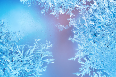 Photo for Frozen windows in winter time with frost decorations - Royalty Free Image
