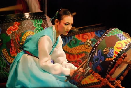 Photo for Performance of Busan Korean traditional dance at theatre - Royalty Free Image