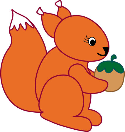 Funny squirrel  - vector illustration. Fully editable, easy color change.