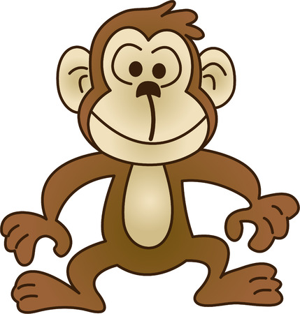 Funny monkey - vector illustration. Fully editable, easy color change.