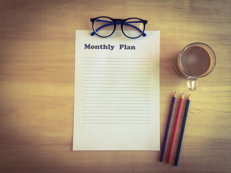 Photo pour paper for  business plan with copy space on working date, business planing concept - image libre de droit