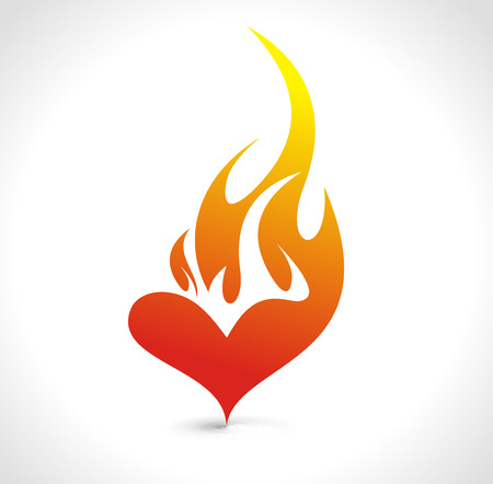 Photo pour Abstract valentine's day card with fire heart background, vector illustration   - image libre de droit